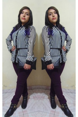 white blouse - black frida boots - deep purple jeans