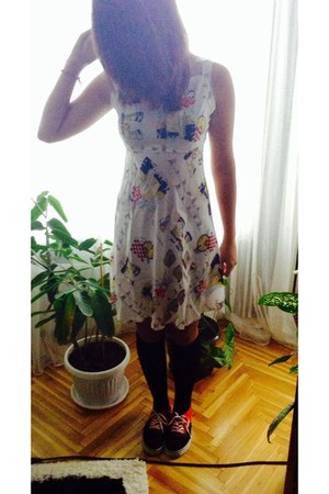 eggshell dress - black socks - black sneakers