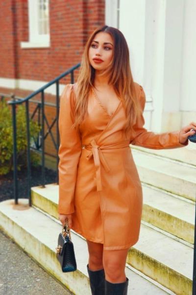 faux leather shein dress