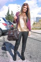Topshop blazer - Guess bag - Zara blouse - asos wedges - Zara pants