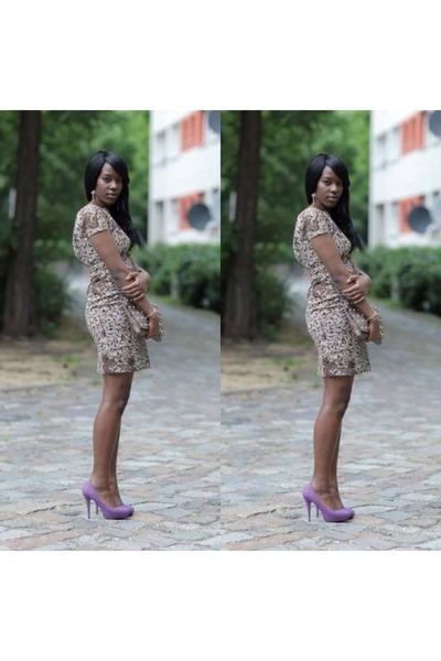 african print Chickoy Fashion dress - studs Primark bag - Primark heels