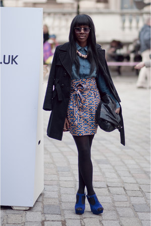 african design Inspired by A skirt - vintage coat - jeans H&M shirt