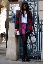 cotton coat vintage coat - hot pink asos shorts - cotton collar asos accessories