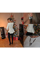 ivory blouse - silver accessories - black skirt
