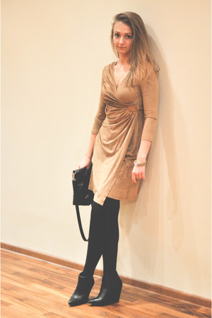 tan Promod dress - black Bershka wedges - tan by dziubeka bracelet