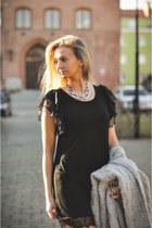 black Stradivarius shoes - black lace Loompexpl dress