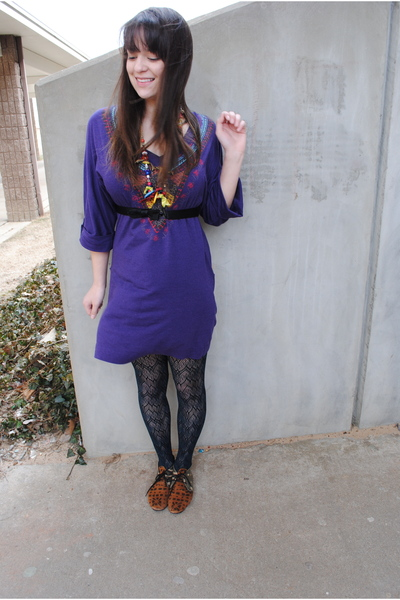 purple Miley Cyrus Max Azira dress - green Target tights - brown Urban Outfitter
