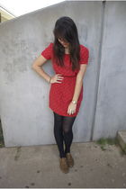 red Forever 21 dress - black Walmart tights - beige Forever 21 shoes