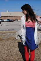blue Charlotte Russe dress - red Target tights - white Charlotte Russe cardigan