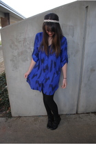 blue Urban Outfitters dress - black Walmart tights - black Urban Outfitters shoe