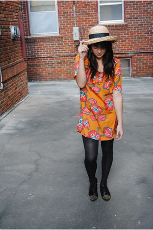 beige Salvation Army hat - orange Tucker for Target dress - black Walmart tights