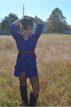 navy Urban Outfitters dress - forest green Anthropologie tights - black Urban Ou