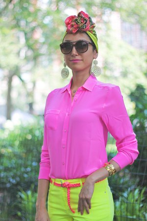 H&M scarf - neon yellow H&M jeans - neon pink silk Joe Fresh shirt