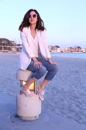 bucketfeet shoes - Current Elliott jeans - Zara blazer - JCrew t-shirt