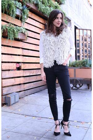 Zara vest - madewell jeans - Zoe & Sam top - Jimmy Choo heels