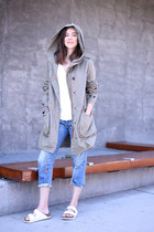 Birkenstock sandals - Current Elliott jeans - Zara jacket - J Crew t-shirt
