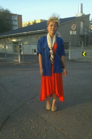 GINA TRICOT dress - vintage shirt - YSL scarf - from Thailand flats