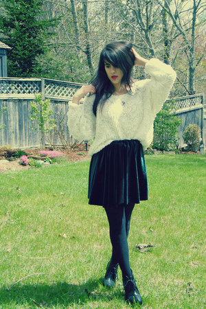 forest green DIYd skirt - white American Apparel shirt