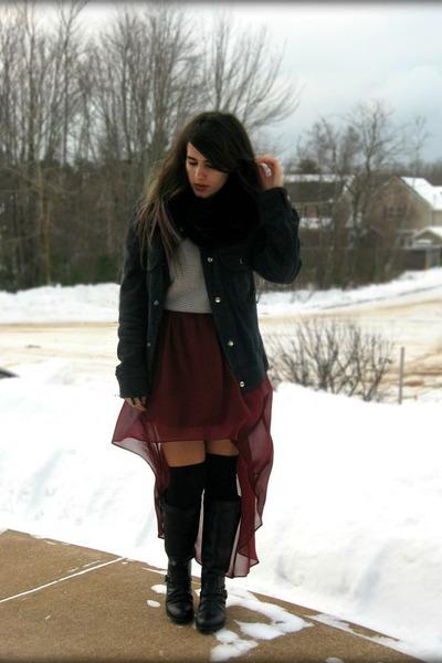 crimson Romwecom skirt - black Brash boots - black vintage jacket