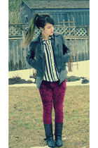 H&M shirt - Hot Topic boots - romwe leggings
