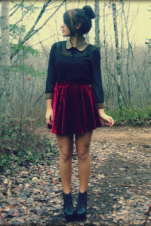Stella Tweed blouse - Romwecom skirt - Jeffrey Campbell heels