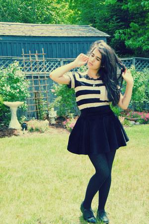 black romwe skirt - black Call it Spring shoes - tan romwe shirt