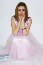 light pink DresseStylist dress - silver bag