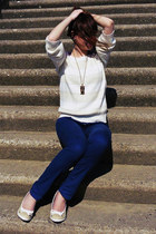 neutral sweater - blue Terranova pants - beige wedges - brown necklace