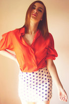 ruby red blouse - off white skirt