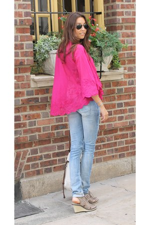 linen Ralph Lauren blouse - ripped denim Zara pants - Circa Joan & David wedges