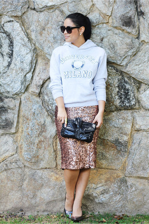 sequins vestimenta skirt - clutch Nine West purse - holographic Forever 21 heels