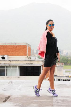 colorful nike sneakers - pink Zara jacket - black By Ina Perez shirt