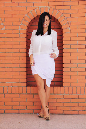 white skirt By Ina Perez skirt - nude Bershka heels