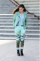 light blue jacket - green pants