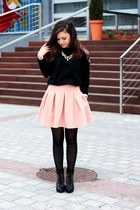 light pink skirt - black blouse