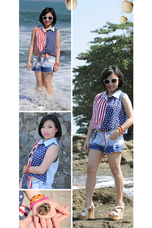 Lady VOO blouse - denim shorts - Heatwave wedges