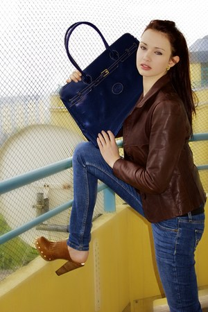 brown jacket - blue Levis jeans - navy Boutique in Prague bag