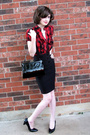 Red-blouse-black-skirt-black-shoes-black-purse-white-necklace-black-ac