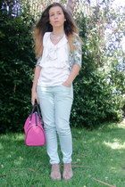 bubble gum bag - light blue Zara jeans - white top