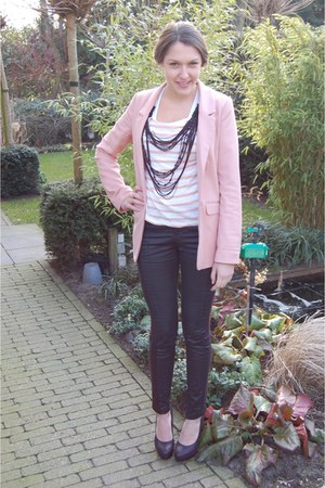light pink H&M blazer - black Vila pants - light pink Mango top - black Tango he
