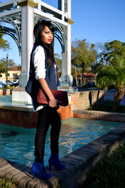 blue blue booties Shoe Land boots - black basic Forever 21 jeans