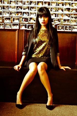 sequins H&M shirt - blazer Forever 21 blazer - black H&M skirt
