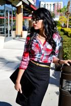 black skirt H&M skirt - Aeropostale shirt - black Forever 21 purse