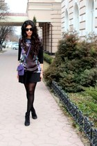 black Bershka boots - deep purple Mango bag - black H&M skirt