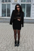 black Zara boots - black asos dress - black ellen kloss blazer