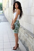 lime green handmade skirt - burnt orange Bershka shoes
