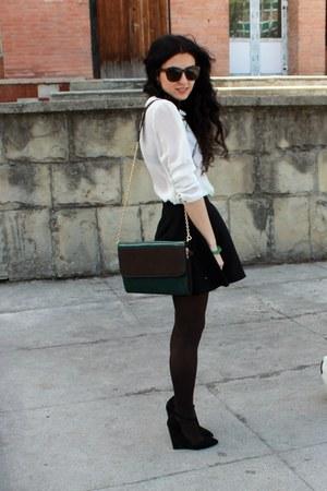 black asos sandals - dark brown Calzedonia tights - black H&M skirt