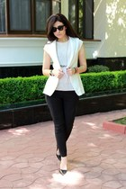 white Pnk Casual jacket - black Zara shoes - cream Pnk Casual blouse