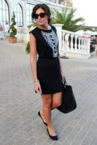 black Be free dress - black Zara bag - black Bershka flats