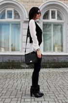 black Zara boots - black Bershka leggings - black Stradivarius bag